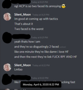A conversation with an ACP moderator, obviously blacked out to protect them.